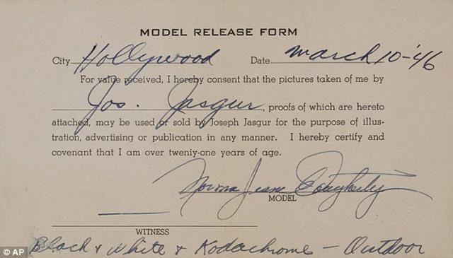 Marilyn Monroe release form