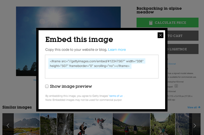 getty embed feature